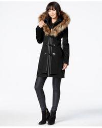 Betsey Johnson - Faux-fur-hood Wool-blend Coat - Lyst