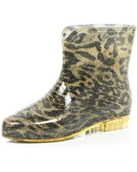River Island Brown Leopard Print Ankle Boot Wellies - Lyst