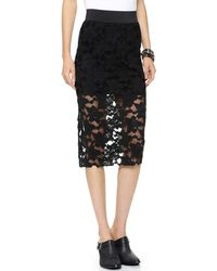Free People Lace Pencil Skirt Black - Lyst