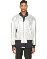 3.1 Phillip Lim Silver Metallic Leather And Navy Blazer Double Jacket - Lyst