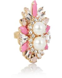 Shourouk Lady Woolit Gold-plated Swarovski Pearl and Crystal Ring - Multicolor