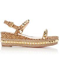 Christian louboutin \u0026#39;cataclou\u0026#39; Espadrille Platform Sandal in Gold ...