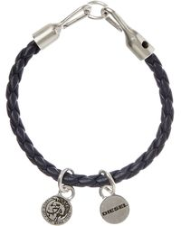 DIESEL | Bracelet With Plaited Cord | Lyst