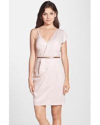 French Connection Belted Asymmetrical Crepe Sheath Dress - Lyst