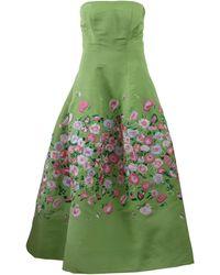 Oscar de la Renta Embroidered Tea Length Gown - Lyst