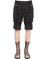 Balmain Belted Cotton Twill Double Cargo Shorts - Black