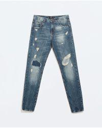 Zara Distressed Boyfriend Jeans - Lyst