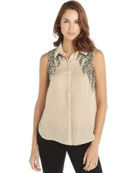 Haute Hippie Blush Silk Embellished Sleeveless Button Front Blouse - Lyst