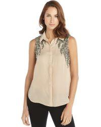 Haute Hippie Blush Silk Embellished Sleeveless Button Front Blouse - Lyst