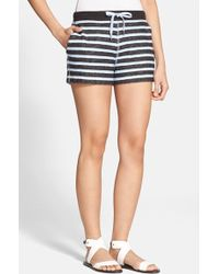T By Alexander Wang Striped French-Terry Shorts - Lyst