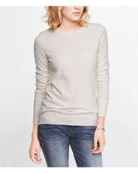 Express Long Rhinestud Sleeve Crew Neck Sweater - Lyst