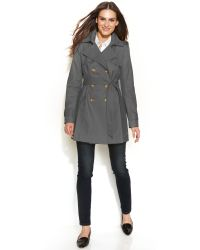 DKNY Doublebreasted Hooded Trench Coat - Lyst