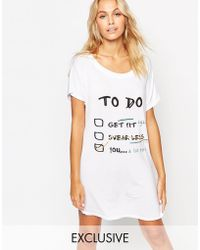 Adolescent Clothing New Year List Christmas Gift Nightshirt - White