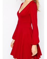 Asos Skater Dress With Boho Sleeves And Seamed Detail - Lyst