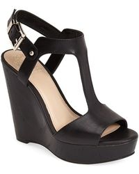 Vince Camuto 'Mathis' T-Strap Wedge Sandal - Lyst