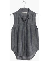 Madewell Sleeveless Chambray Shirt - Lyst