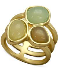 T Tahari Openwork Triple Stone Ring - Lyst