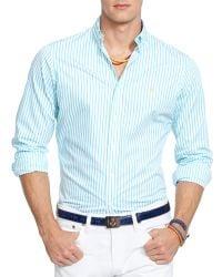 Ralph Lauren Polo Striped Poplin Shirt  Slim Fit - Lyst