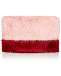 Shrimps Pink Faux Fur Pablo Clutch - Lyst