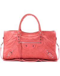 Balenciaga Classic Part Time Suede Tote - Pink