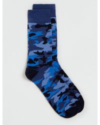 Topman Blue Tonal Camo Socks - Lyst