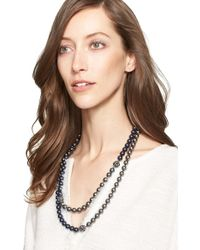 St. John Two-tone Faux Pearl Double Strand Necklace - Black