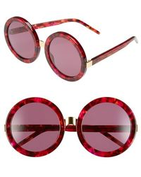 Wildfox Women'S 'Malibu' 56Mm Round Sunglasses - Cider/ Gold/ Rose Solid - Lyst