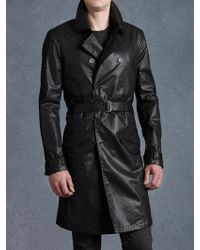 John Varvatos Double Breasted Trench Coat - Lyst