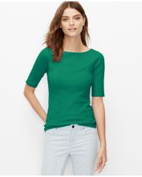 Ann Taylor Cotton Boatneck Tee green - Lyst