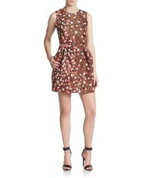 RED Valentino Leopard Print Faille Fit-And-Flare Dress - Lyst