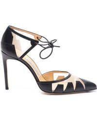 Bionda Castana Lana Black Calf & Nude Mesh Ankle Tie Court Shoes