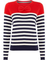Dickins & Jones Bow Front and Stripe Knit Jumper blue - Lyst