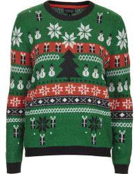 Topshop Christmas Fairisle Sweater - Lyst