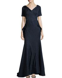 Zac Posen Off-the-shoulder Draped Lace-jacquard Gown - Lyst