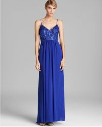 Sue Wong V Neck Beaded Top Grecian Gown - Blue