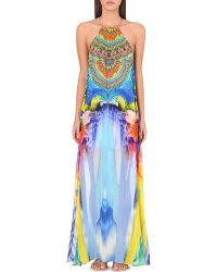 Camilla Tropical-Print Silk Dress - For Women multicolor - Lyst