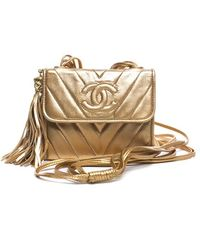 Chanel Pre-owned Gold Lambskin Chevron Cc Extra Mini Flap - Lyst