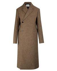 Jil Sander Lee Llama Fibre-wool Blend Coat - Brown