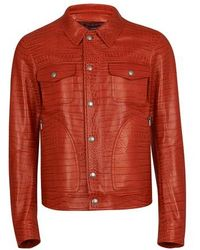 Tom Ford Embossed Crocodile Leather Jacket - Red