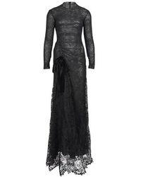 Tom Ford Robe longue en macramé à fleurs - Noir