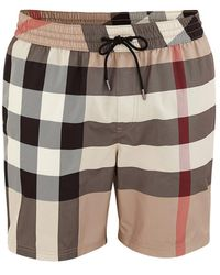 Burberry Check Drawcord Swim Shorts - Natural