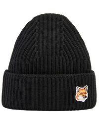 Maison Kitsuné Bonnet patch Fox head - Noir
