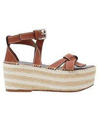 Loewe Gate Leather Espadrille Wedge Sandals - Brown