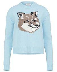 Maison Kitsuné Big Fox Head Jumper - Blue