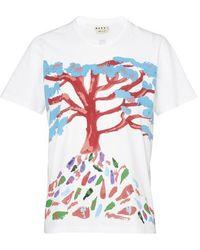 Marni Tree-print Cotton-jersey T-shirt - Multicolour