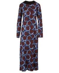 Marni Robe longue imprimée - Bleu