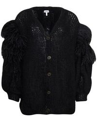 Loewe Feather Trim Mohair Cardigan - Black