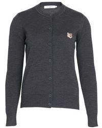 Maison Kitsuné Fox Head Patch Cardigan - Grey