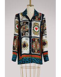 Dolce & Gabbana - Cards Silk Shirt - Lyst