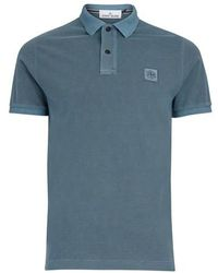 Stone Island Poloshirt mit Logo - Blau